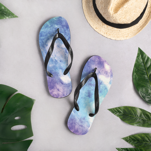 Pastel Green, Purple and Blue Tie Dye Flip-Flops