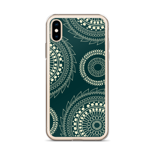 Tan Zentangle Circles on Black iPhone Case for all iPhone models including XR, XS Max, X, XS, 7Plus, 8Plus, 7, 8, 6Plus, 6s Plus, 6, 6s