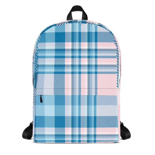 Light Pink and Blue Plaid Backpack