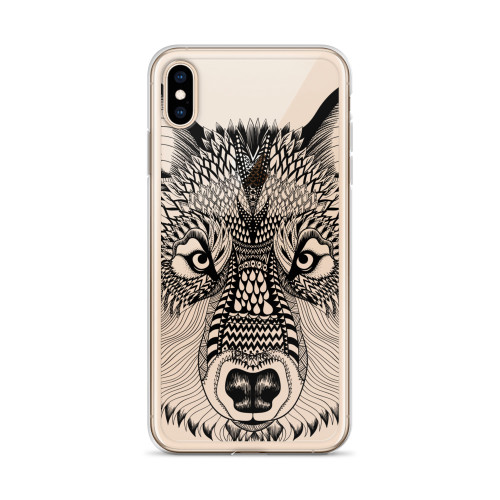 Lone Wolf Zentangle iPhone Case for all iPhone models including XR, XS Max, X, XS, 7Plus, 8Plus, 7, 8, 6Plus, 6s Plus, 6, 6s