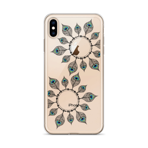 Peacock Feather Art iPhone Case for all iPhone models including XR, XS Max, X, XS, 7Plus, 8Plus, 7, 8, 6Plus, 6s Plus, 6, 6s