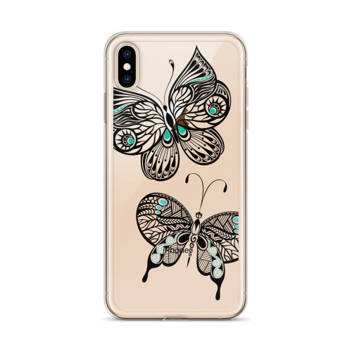 Zentangle Butterflies iPhone Case for all iPhone models including XR, XS Max, X, XS, 7Plus, 8Plus, 7, 8, 6Plus, 6s Plus, 6, 6s