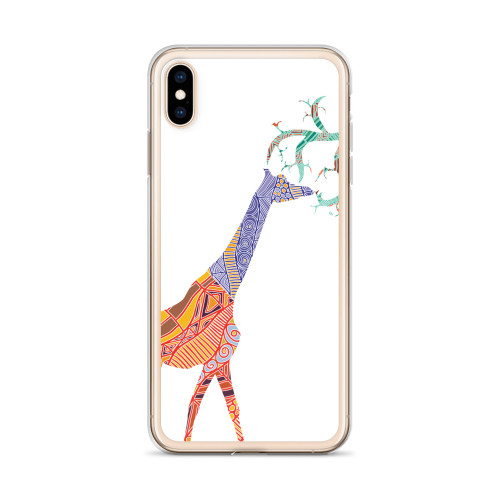 Colorful Giraffe on White iPhone Case for all iPhone models including XR, XS Max, X, XS, 7Plus, 8Plus, 7, 8, 6Plus, 6s Plus, 6, 6s