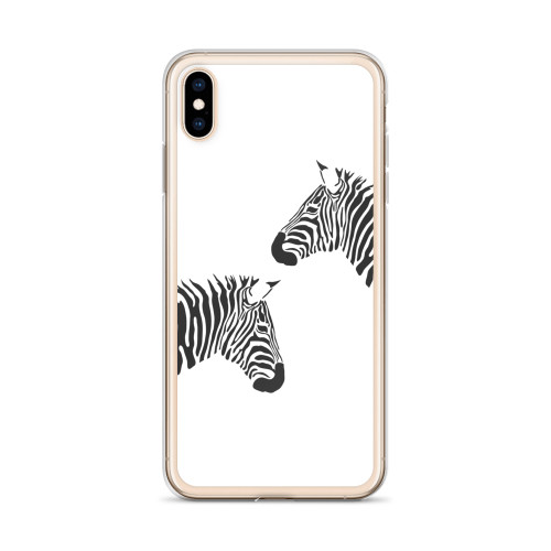 Two Zebras iPhone Case for all iPhone models including XR, XS Max, X, XS, 7Plus, 8Plus, 7, 8, 6Plus, 6s Plus, 6, 6s