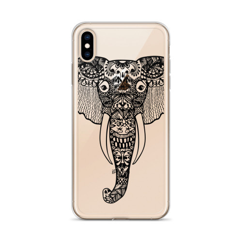 Zentangle Elephant iPhone Case for all iPhone models including XR, XS Max, X, XS, 7Plus, 8Plus, 7, 8, 6Plus, 6s Plus, 6, 6s