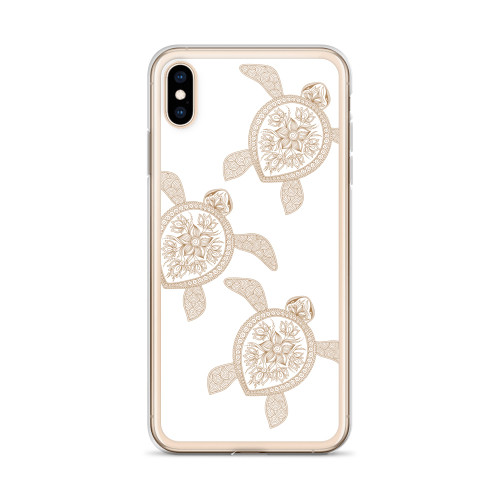 Henna Sea Turtles on White iPhone Case
