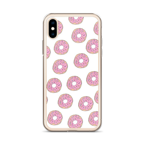 Donut Pattern on White iPhone Case for all iPhone models including 11, 11 Pro, 11 Pro Max, XR, XS Max, X, XS, 7Plus, 8Plus, 7, 8, 6Plus, 6s Plus, 6, 6s