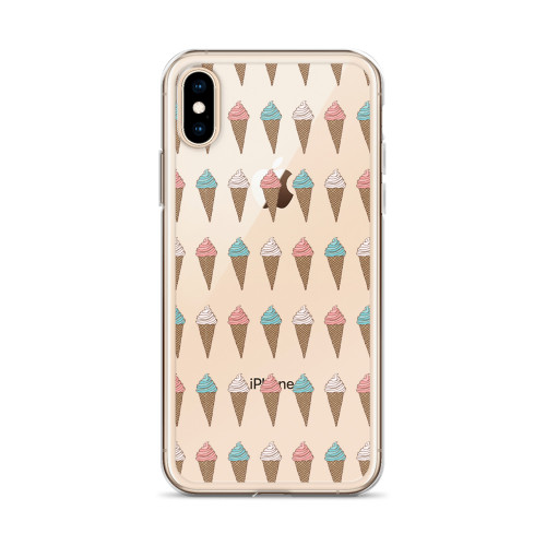 Fun Ice Cream Pattern iPhone Case for all iPhone models including 11, 11 Pro, 11 Pro Max, XR, XS Max, X, XS, 7Plus, 8Plus, 7, 8, 6Plus, 6s Plus, 6, 6s