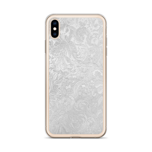 Silver Floral Pattern iPhone Case for all iPhone models including 11, 11 Pro, 11 Pro Max, XR, XS Max, X, XS, 7Plus, 8Plus, 7, 8, 6Plus, 6s Plus, 6, 6s