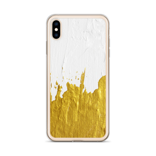 Gold and White Paint Design iPhone Case for all iPhone models including 11, 11 Pro, 11 Pro Max, XR, XS Max, X, XS, 7Plus, 8Plus, 7, 8, 6Plus, 6s Plus, 6, 6s