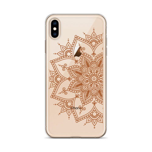 Brown Henna Design iPhone Case for all iPhone models including 11, 11 Pro, 11 Pro Max, XR, XS Max, X, XS, 7Plus, 8Plus, 7, 8, 6Plus, 6s Plus, 6, 6s