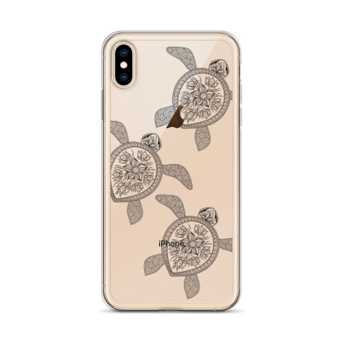 Black Henna Swimming Sea Turtles iPhone Case  for all iPhone models including 11, 11 Pro, 11 Pro Max, XR, XS Max, X, XS, 7Plus, 8Plus, 7, 8, 6Plus, 6s Plus, 6, 6s