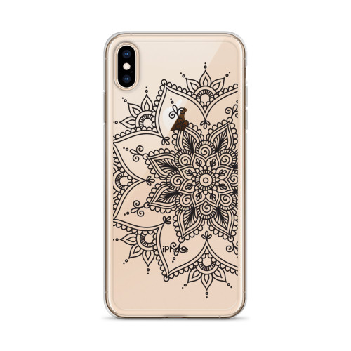 Black Henna Transparent iPhone Case for all iPhone models including 11, 11 Pro, 11 Pro Max, XR, XS Max, X, XS, 7Plus, 8Plus, 7, 8, 6Plus, 6s Plus, 6, 6s
