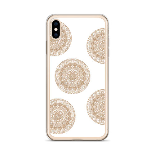 Brown Henna Circles iPhone Case for all iPhone models including 11, 11 Pro, 11 Pro Max, XR, XS Max, X, XS, 7Plus, 8Plus, 7, 8, 6Plus, 6s Plus, 6, 6s