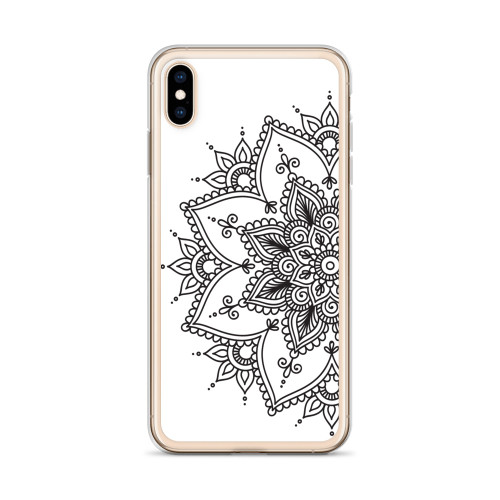 Black Henna Design on White iPhone Case for all iPhone models including 11, 11 Pro, 11 Pro Max, XR, XS Max, X, XS, 7Plus, 8Plus, 7, 8, 6Plus, 6s Plus, 6, 6s