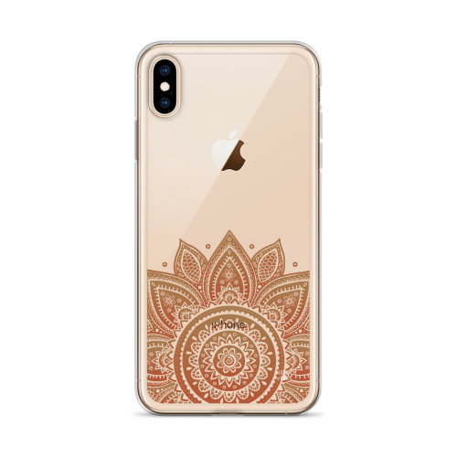 Pretty Brown Henna Transparent iPhone Case for all iPhone models including 11, 11 Pro, 11 Pro Max, XR, XS Max, X, XS, 7Plus, 8Plus, 7, 8, 6Plus, 6s Plus, 6, 6s