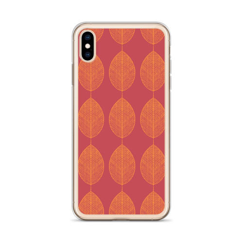 Orange Leaves on Red Fall iPhone Case for all iPhone models including 11, 11 Pro, 11 Pro Max, XR, XS Max, X, XS, 7Plus, 8Plus, 7, 8, 6Plus, 6s Plus, 6, 6s