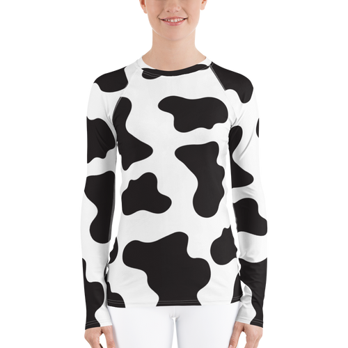 Cute Cow Print Women's Rash Guard Shirt