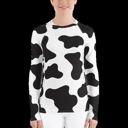 Cute Cow Print Women's Rash Guard Shirt