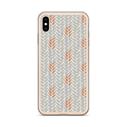 Grey and Orange Wheat Pattern iPhone Case for all iPhone models including 11, 11 Pro, 11 Pro Max, XR, XS Max, X, XS, 7Plus, 8Plus, 7, 8, 6Plus, 6s Plus, 6, 6s