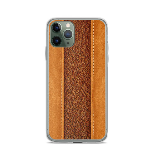 Tan Leather Strips iPhone Case for all iPhone models including 11, 11 Pro, 11 Pro Max, XR, XS Max, X, XS, 7Plus, 8Plus, 7, 8, 6Plus, 6s Plus, 6, 6s