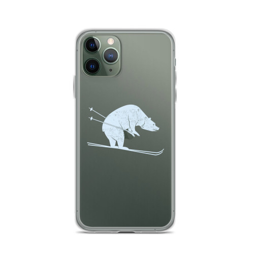 Bear on Skis iPhone Case for all iPhone models including 11, 11 Pro, 11 Pro Max, XR, XS Max, X, XS, 7Plus, 8Plus, 7, 8, 6Plus, 6s Plus, 6, 6s