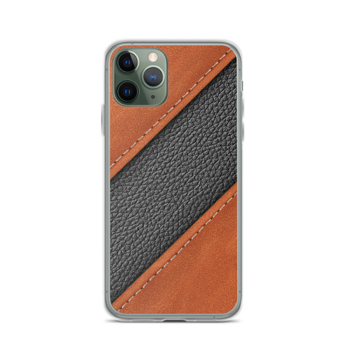 Diagonal Black and Tan Leather iPhone Case for all iPhone models including 11, 11 Pro, 11 Pro Max, XR, XS Max, X, XS, 7Plus, 8Plus, 7, 8, 6Plus, 6s Plus, 6, 6s