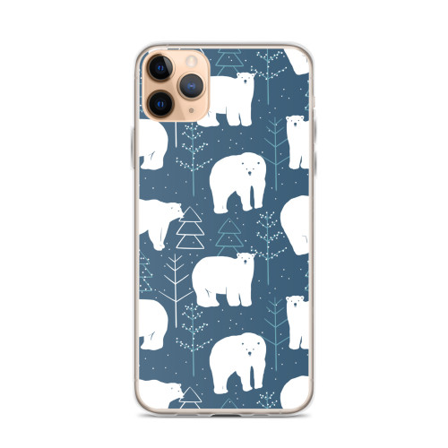 Polar Bears on Blue iPhone Case for all iPhone models including 11, 11 Pro, 11 Pro Max, XR, XS Max, X, XS, 7Plus, 8Plus, 7, 8, 6Plus, 6s Plus, 6, 6s