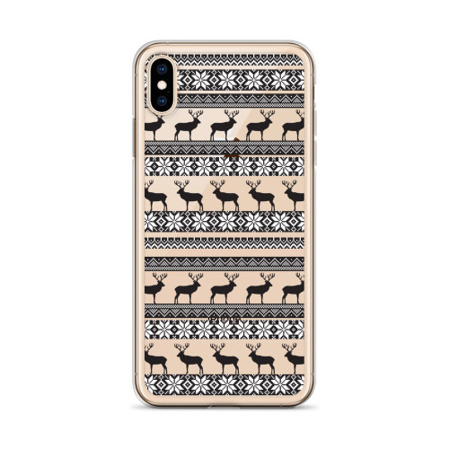 Nordic Deer and Snowflake Pattern iPhone Case for all iPhone models including 11, 11 Pro, 11 Pro Max, XR, XS Max, X, XS, 7Plus, 8Plus, 7, 8, 6Plus, 6s Plus, 6, 6s