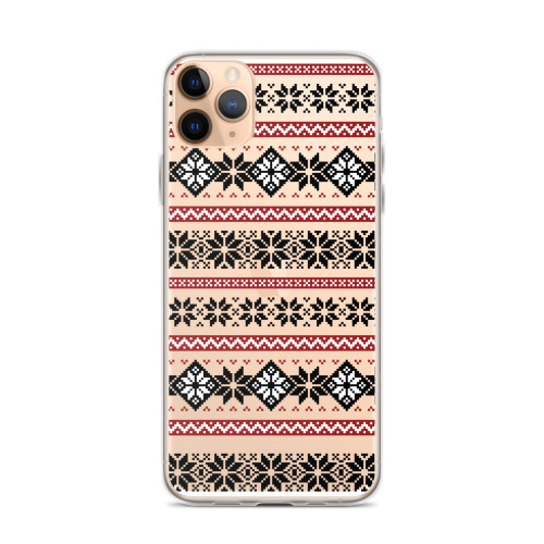 Black and Red Nordic Pattern iPhone Case for all iPhone models including 11, 11 Pro, 11 Pro Max, XR, XS Max, X, XS, 7Plus, 8Plus, 7, 8, 6Plus, 6s Plus, 6, 6s
