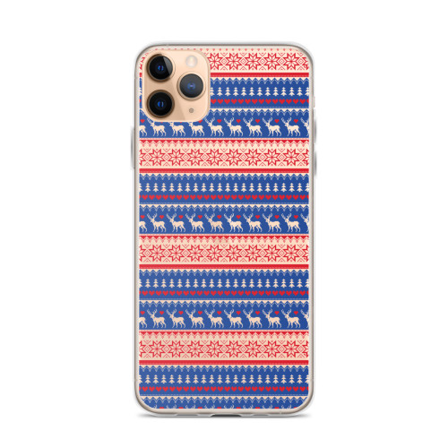 Deer and Snowflake Winter Pattern iPhone Case for all iPhone models including 11, 11 Pro, 11 Pro Max, XR, XS Max, X, XS, 7Plus, 8Plus, 7, 8, 6Plus, 6s Plus, 6, 6s