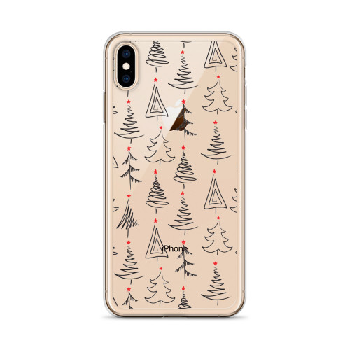 Cute Transparent Holiday Tree Pattern iPhone Case for all iPhone models including 11, 11 Pro, 11 Pro Max, XR, XS Max, X, XS, 7Plus, 8Plus, 7, 8, 6Plus, 6s Plus, 6, 6s