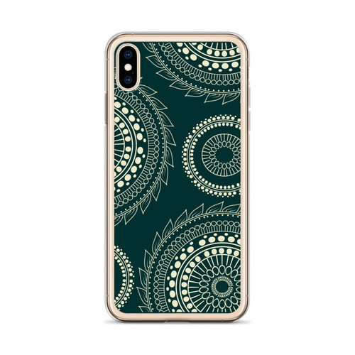 Tan Circle Design on Black iPhone Case for all iPhone models including 11, 11 Pro, 11 Pro Max, XR, XS Max, X, XS, 7Plus, 8Plus, 7, 8, 6Plus, 6s Plus, 6, 6s