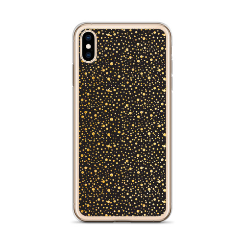 Gold Glitter Dots on Black iPhone Case for all iPhone models including 11, 11 Pro, 11 Pro Max, XR, XS Max, X, XS, 7Plus, 8Plus, 7, 8, 6Plus, 6s Plus, 6, 6s