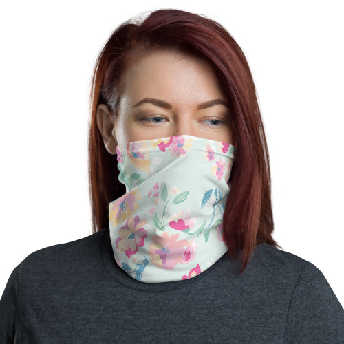 Pale Blue Floral Neck Gaiter