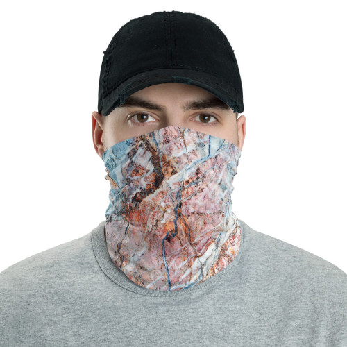 Pink and Baby Blue Marble Neck Gaiter