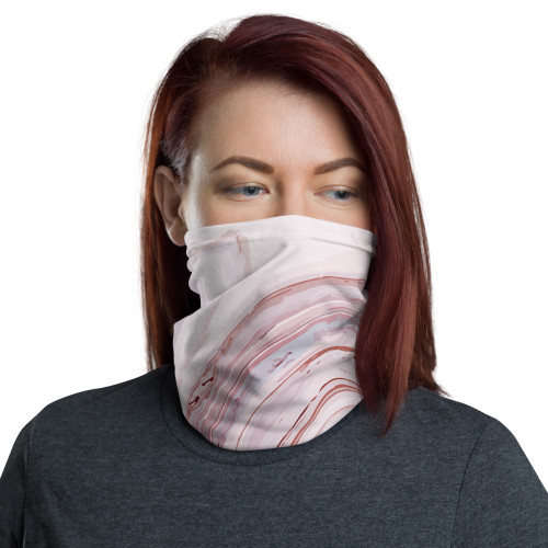 Pink and Grey Marble Neck Gaiter