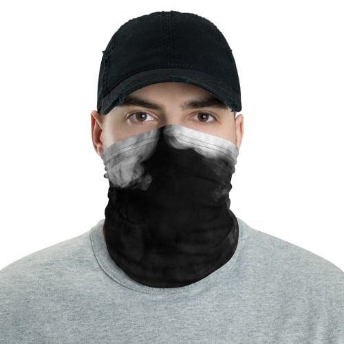 White Smoke on Black Neck Gaiter
