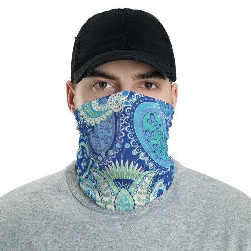 Blue and Green Paisley Neck Gaiter