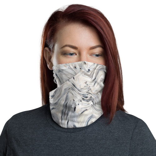 Grey and Black Swirl Neck Gaiter