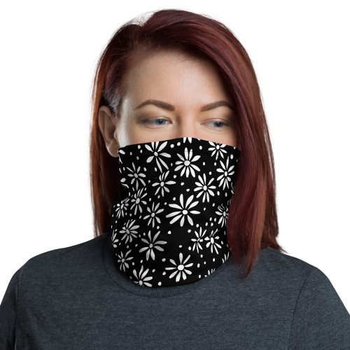 Daisy Pattern on Black Neck Gaiter by CBK Company and Cases by Kate