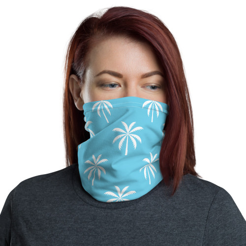 White and Blue Palm Pattern Neck Gaiter by Cases by Kate and CBK Company