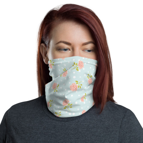 Pale Blue and Pink Floral Neck Gaiter by Cases by Kate and CBK Company