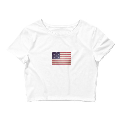 US Flag Women's Crop Tee