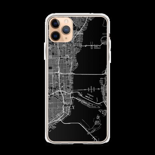 Miami City Map iPhone Case for all iPhone models including 11, 11 Pro, 11 Pro Max, XR, XS Max, X, XS, 7Plus, 8Plus, 7, 8, 6Plus, 6s Plus, 6, 6s, SE