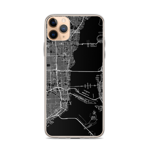 Miami City Map iPhone Case for all iPhone models including 11, 11 Pro, 11 Pro Max, XR, XS Max, X, XS, 7Plus, 8Plus, 7, 8, 6Plus, 6s Plus, 6, 6s, SE