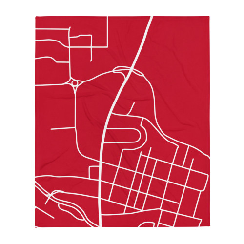 College Park Maryland Map Throw Blanket - Red