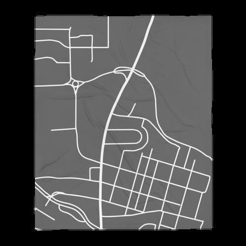 College Park Maryland Map Throw Blanket - Grey