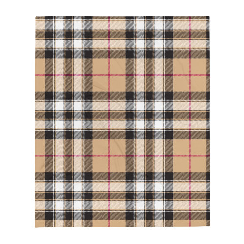 Tan, Black and Burgundy Plaid Throw Blanket