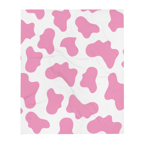 Pink Cow Pattern Throw Blanket